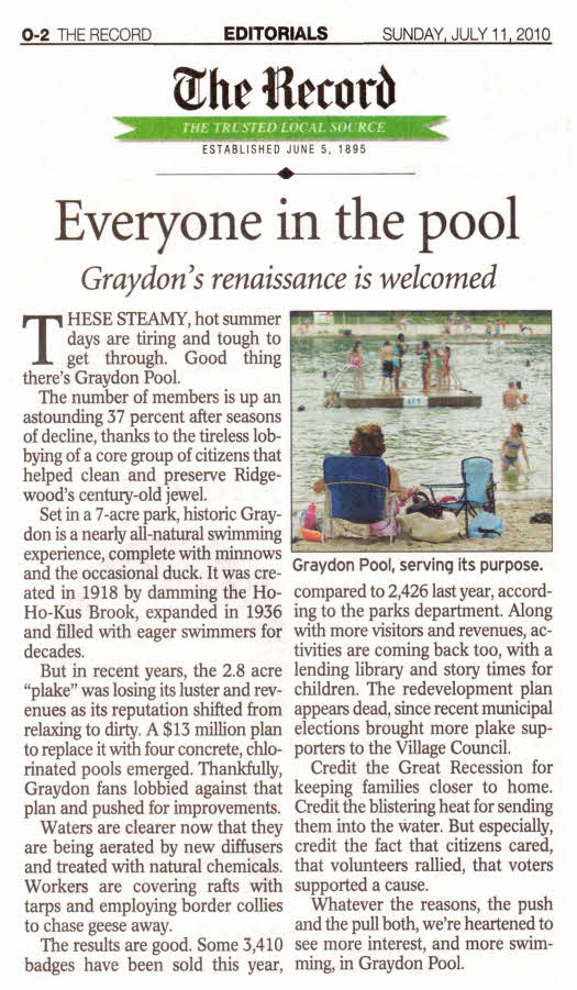 Record editorial from July 11 about Ridgewood's Graydon Pool: Graydon's Renaissance is Welcomed