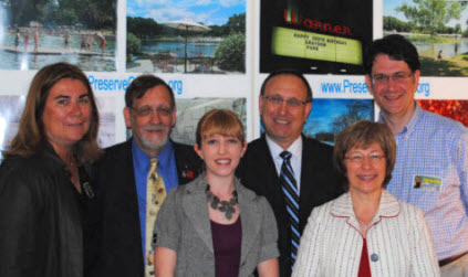 At Preservation New Jersey press conference in Trenton (L-R):<BR>Laurie Howard, Ridgewood Historian Joe Suplicki,<BR>Preservation NJ Programs Director Stephanie Cherry-Farmer,<BR>attorney Stuart Lieberman, Lucy Rieger, Alan Seiden,<BR>with Graydon photos in background