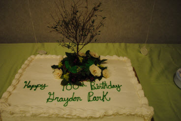 Centennial celebration included a cake<BR>with Graydon&rsquo;s tree and island